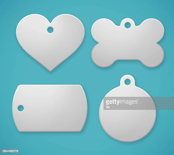 pet tags and dog tags - dog bone stock illustrations