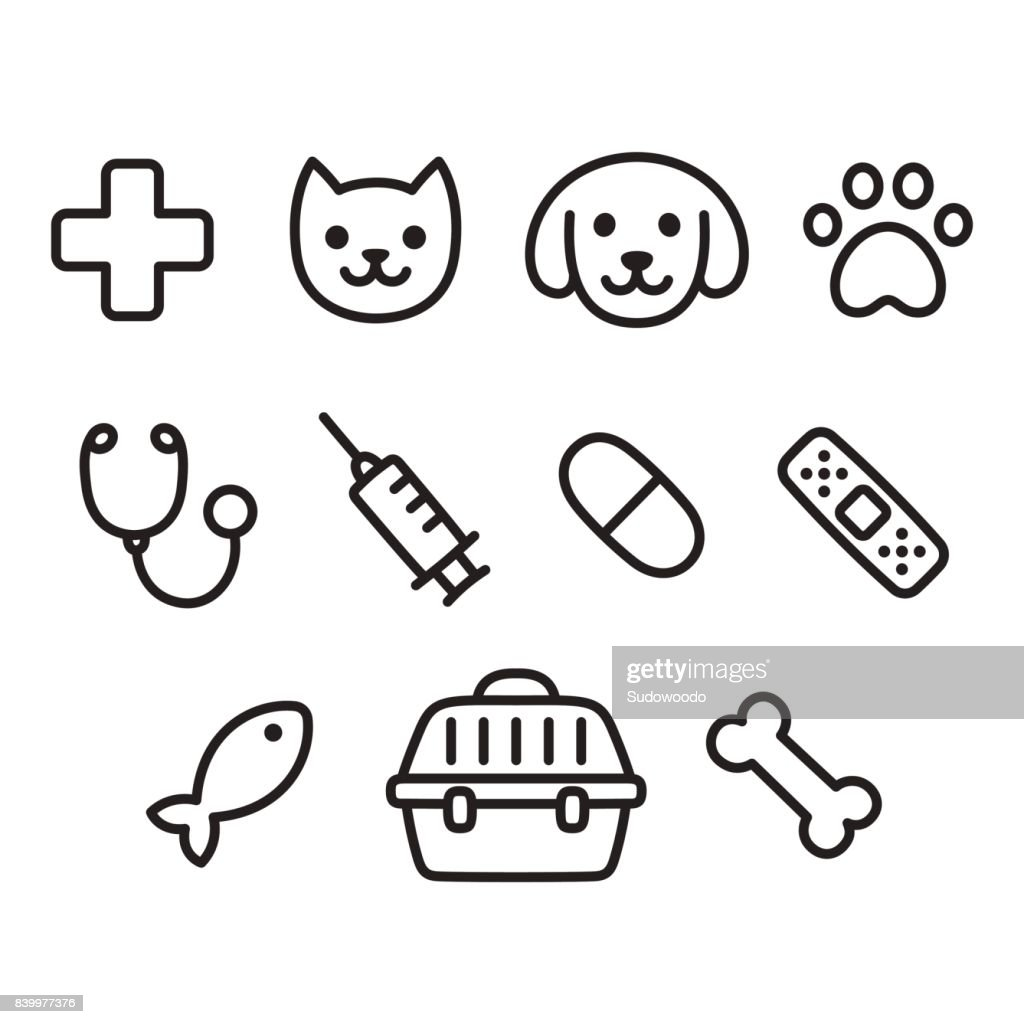 Pet vet icon set