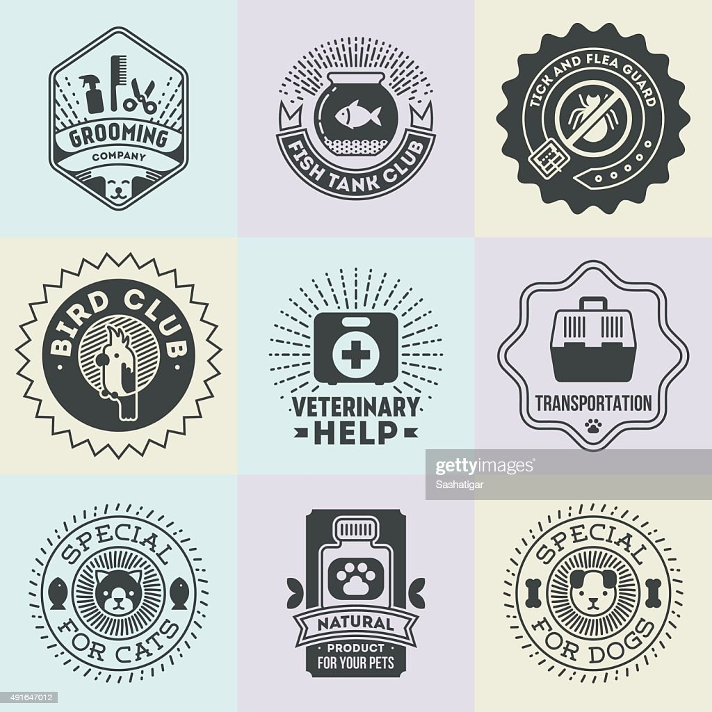 Pet Veterinary Assorted Insignias  Logotypes Template Set.