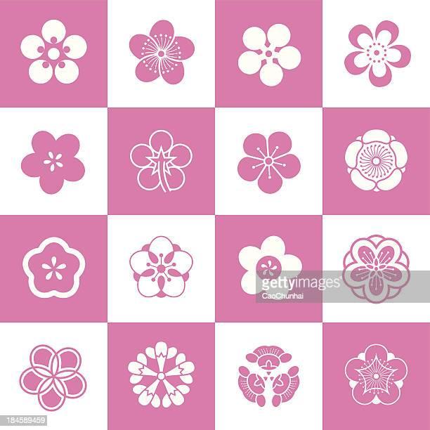 blütenblatt muster der pflaumenblüte - blütenblatt stock-grafiken, -clipart, -cartoons und -symbole