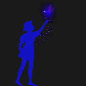 peter pan silhouette with fairy and blue sparckle,