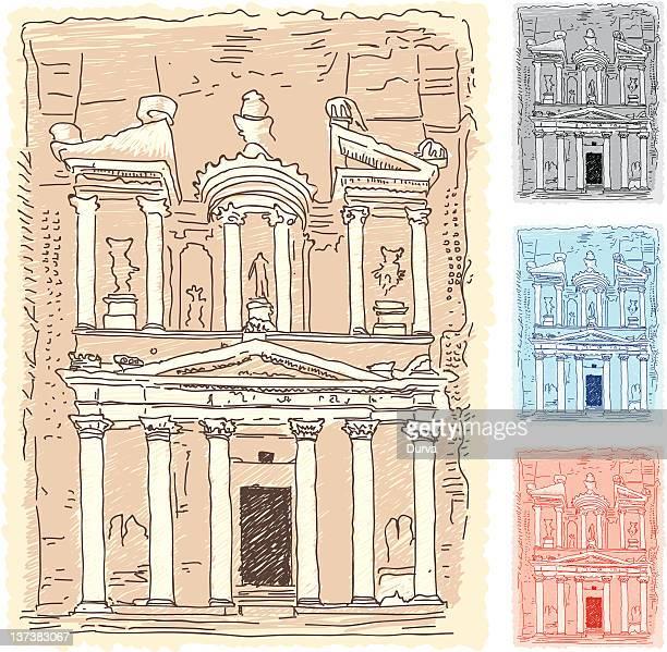 petra sketch - jordan middle east stock illustrations, clip art, cartoons, & icons