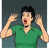 Petrified Screaming Retro Style Woman
