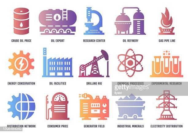 ilustrações, clipart, desenhos animados e ícones de pacote de ícones de vetor da indústria petroquímica com profundidade de sombra interior - fábrica petroquímica