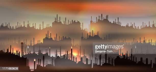 ilustrações, clipart, desenhos animados e ícones de petroquímico ou planta de processamento, paisagem pesada da indústria - fábrica petroquímica