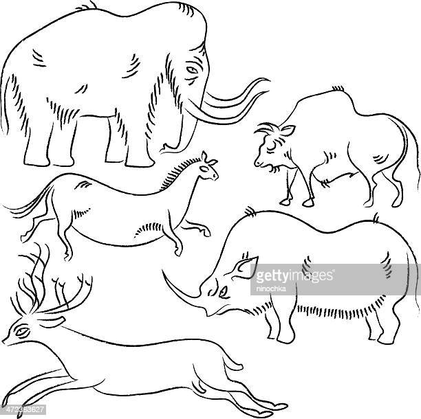 petroglyphic animals - african buffalo stock illustrations, clip art, cartoons, & icons