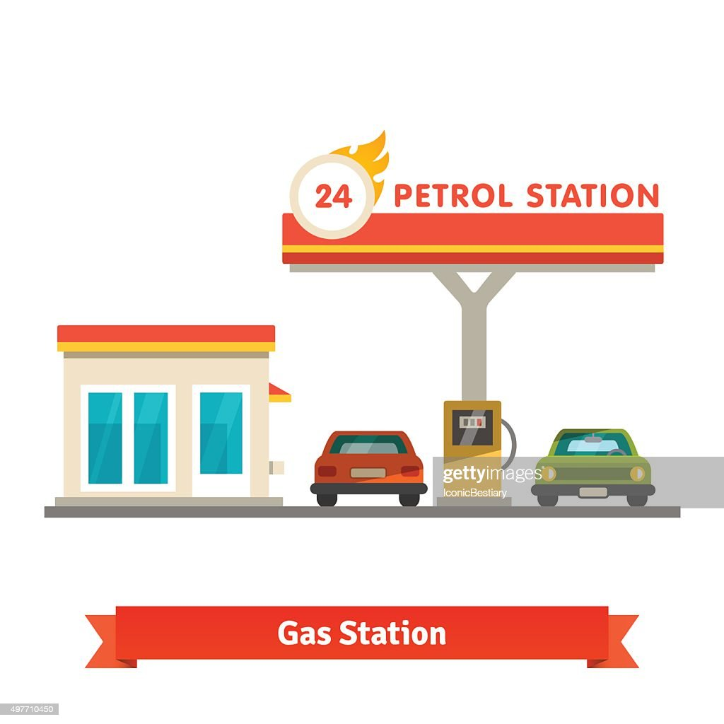 Petrol station with two cars