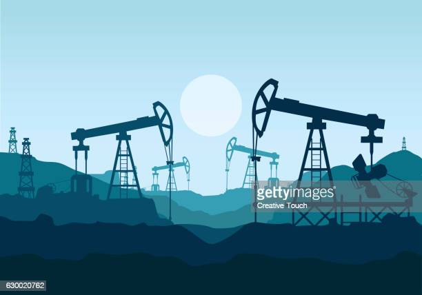 petrol stations and oil pumps - offshore platform stock illustrations, clip art, cartoons, & icons