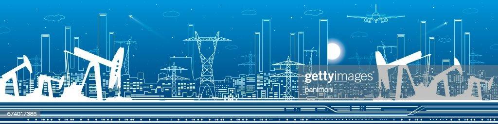 Petroleum and urban panorama, industrial landscape, power plant, vector lines design art