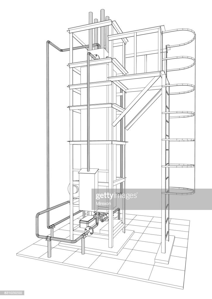 Petroleum gas heating furnace. Tracing illustration of 3d