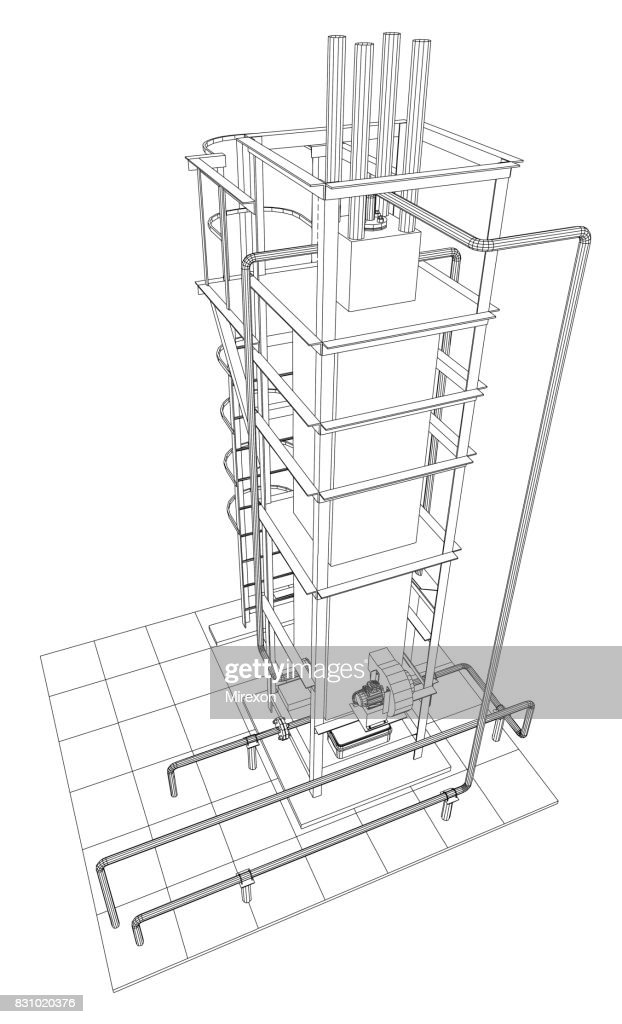 Petroleum gas installation. Tracing illustration of 3d.