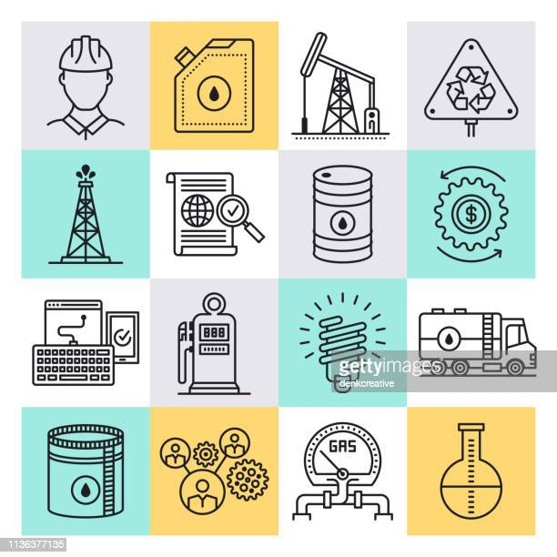 Petroleum & Petrochemical Engineering Outline Style Vector Icon Set