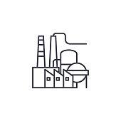 Petroleum refinery linear icon concept. Petroleum refinery line vector sign, symbol, illustration.