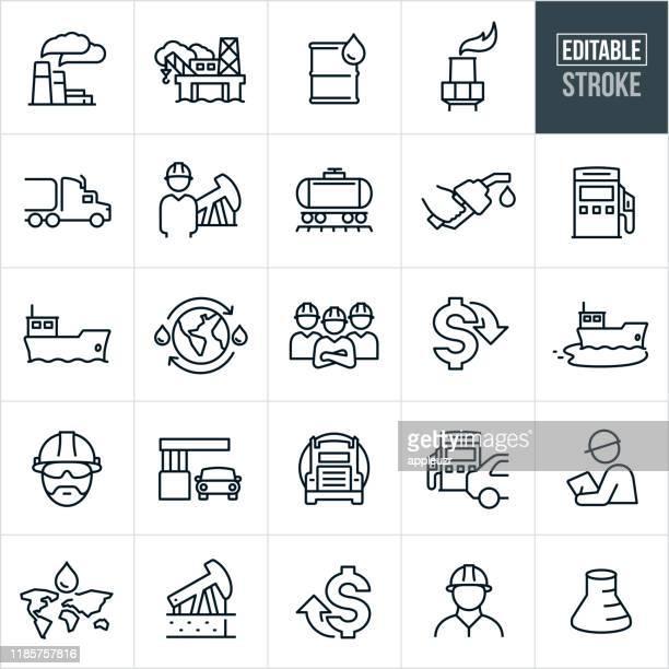 petroleum thin line icons - ediatable stroke - gasoline stock illustrations