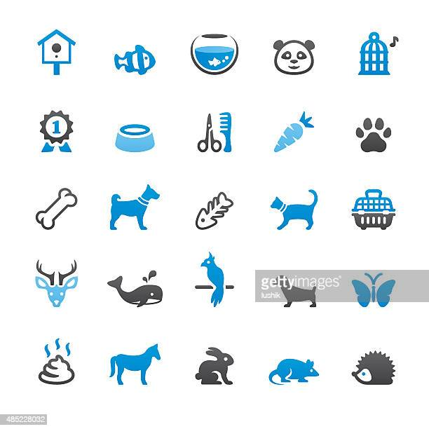 pets and animals related vector icons - dog bowl stock illustrations, clip art, cartoons, & icons