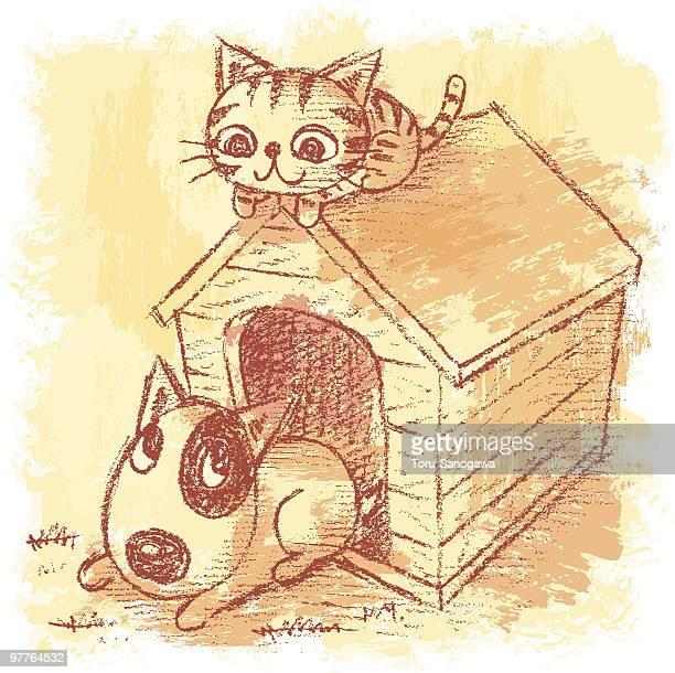 illustrations, cliparts, dessins animés et icônes de les animaux de compagnie et de chenil - chien humour