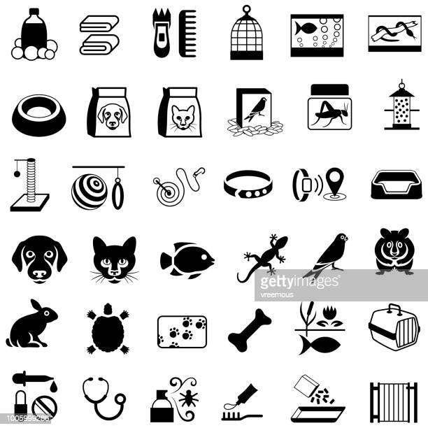 pets and pet store products icons - dog leash stock illustrations, clip art, cartoons, & icons