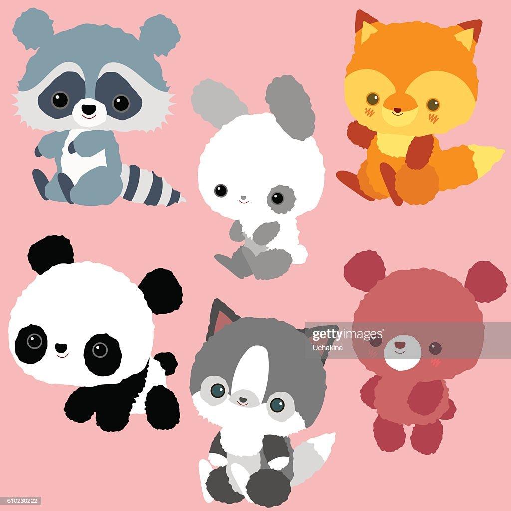 Pets and wild animals. Children's characters. Set: kitten, bear