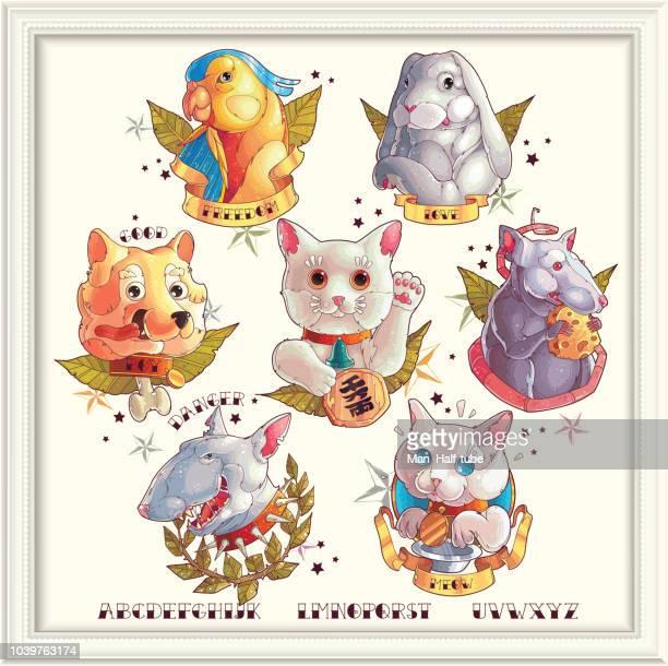 Pets collection, tattoo animals set