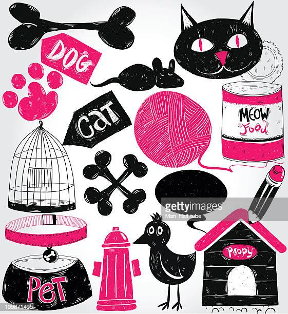pets doodles - pet equipment stock illustrations, clip art, cartoons, & icons