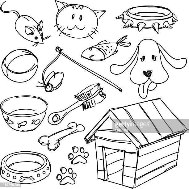 pets' equipment set in black and white - dog bowl stock illustrations, clip art, cartoons, & icons
