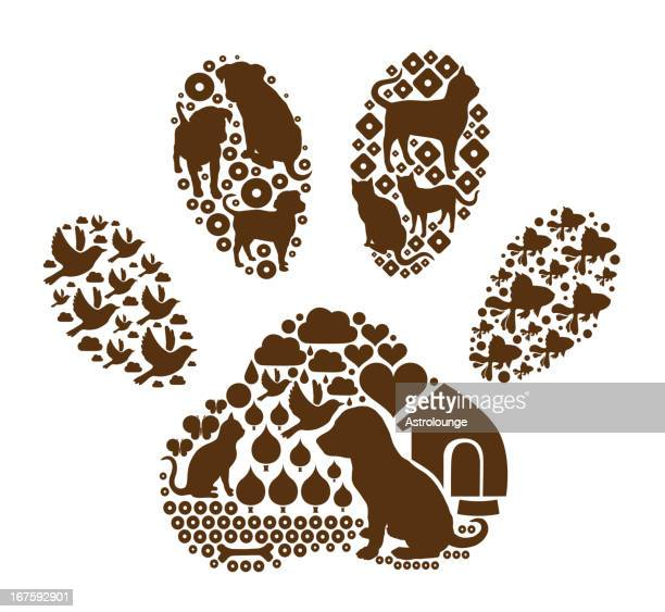 pets in the paw shape - cat food stock illustrations