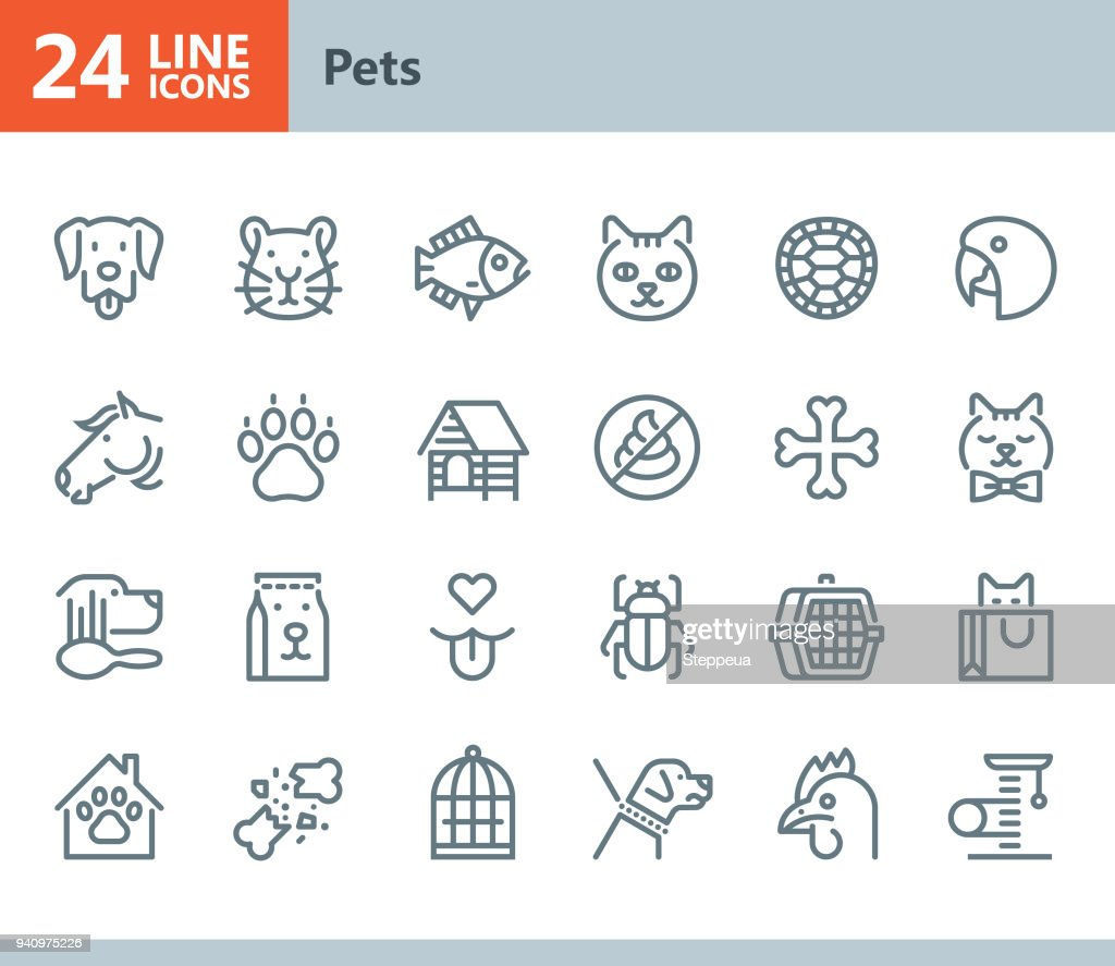Pets - line vector icons : Stock Illustration