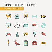 Pets Linear Thin Line Icons Set with Dog Cat
