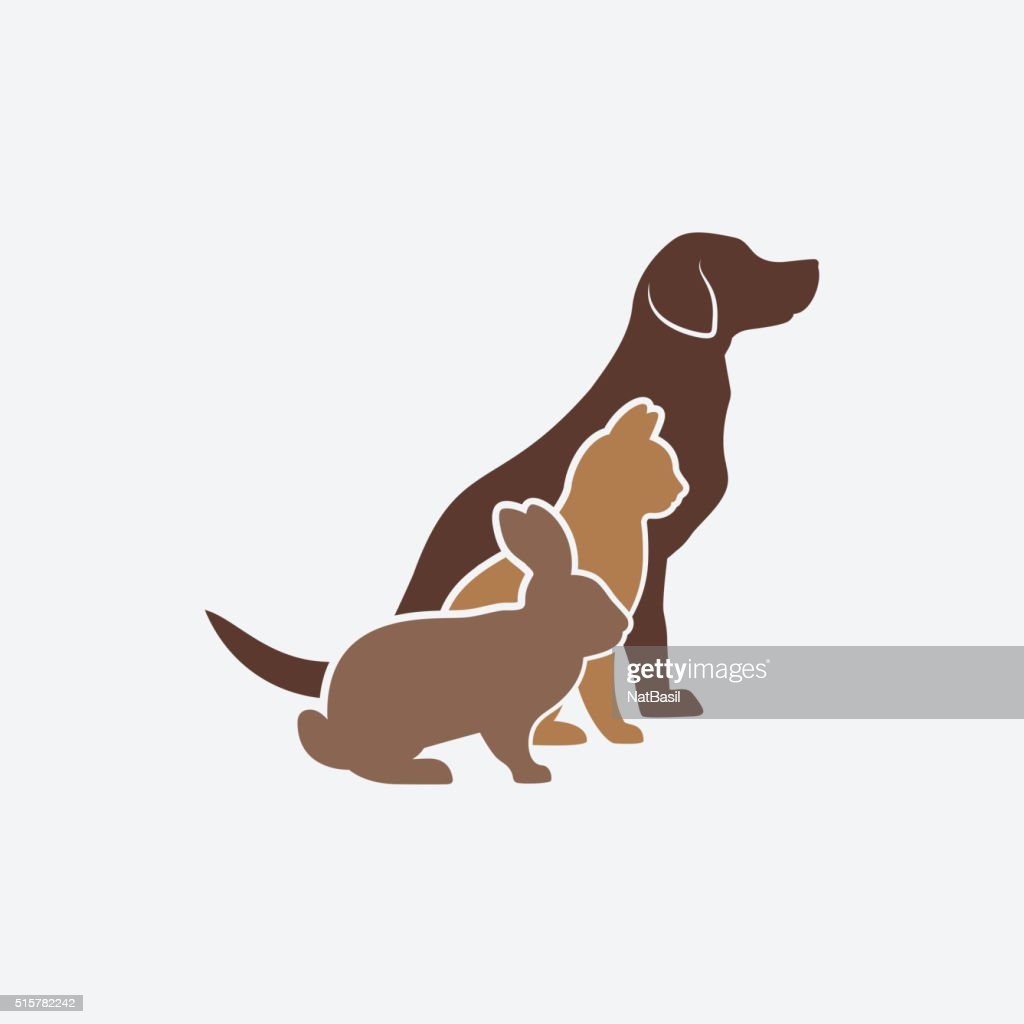 Pets silhouettes. dog, cat and rabbit. logo of pet store