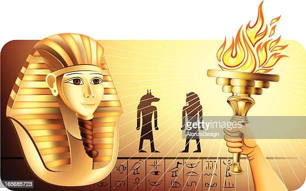 pharaoh mask discovery - nubia stock illustrations, clip art, cartoons, & icons