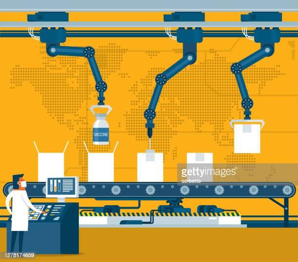 製薬工場 - 機械アーム点のイラスト素材/クリップアート素材/マンガ素材/アイコン素材