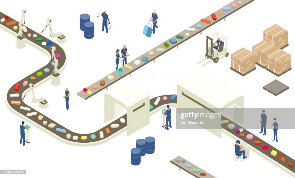 Pharmaceutical industry illustration : stock illustration