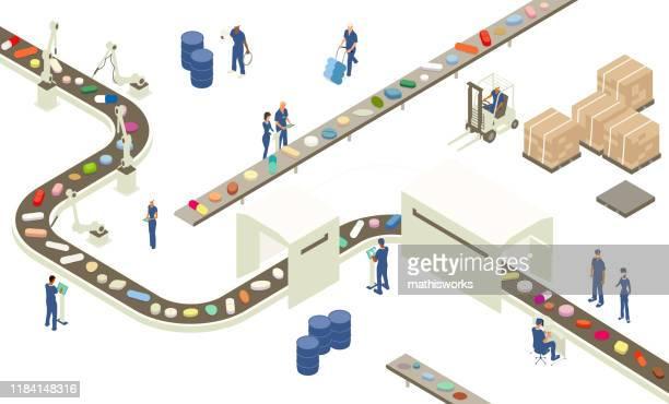 abbildung der pharmazeutischen industrie - kommerzielle herstellung stock-grafiken, -clipart, -cartoons und -symbole