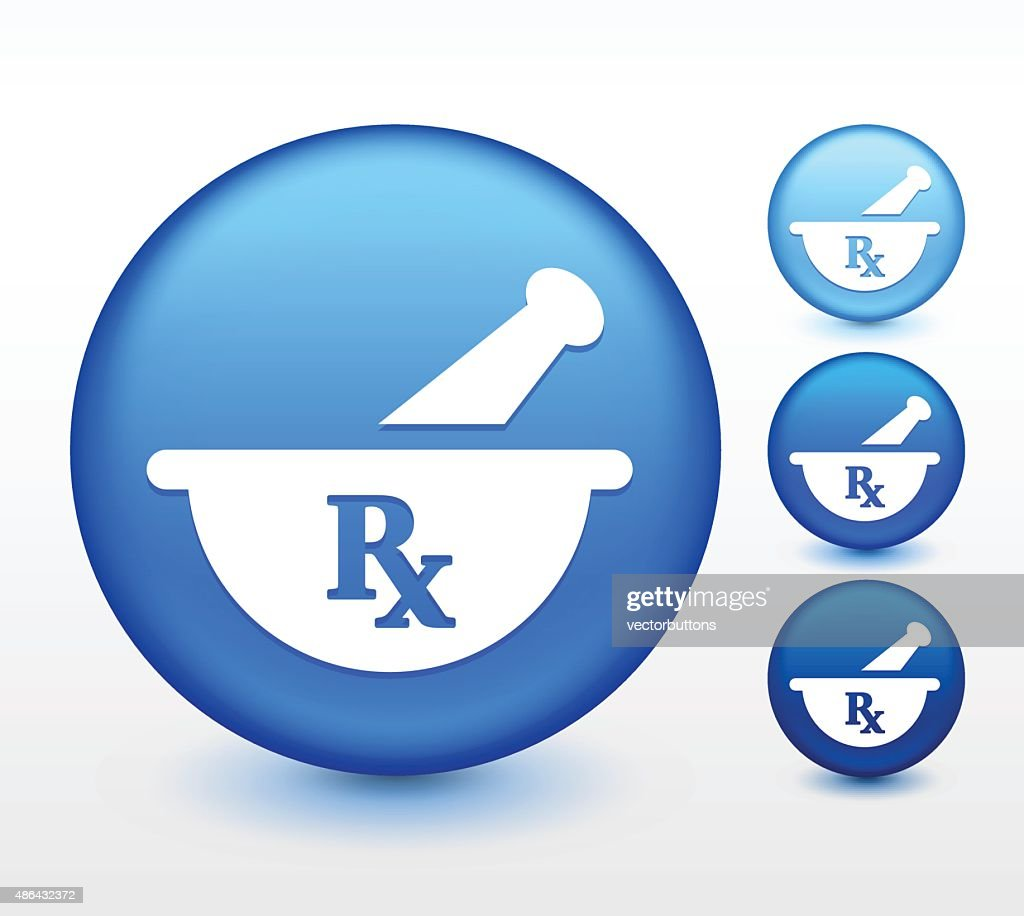 Pharmaceutical RX on Blue Round Button
