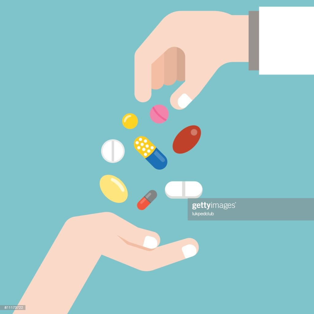 Pharmacist giving medicine to patient another hand