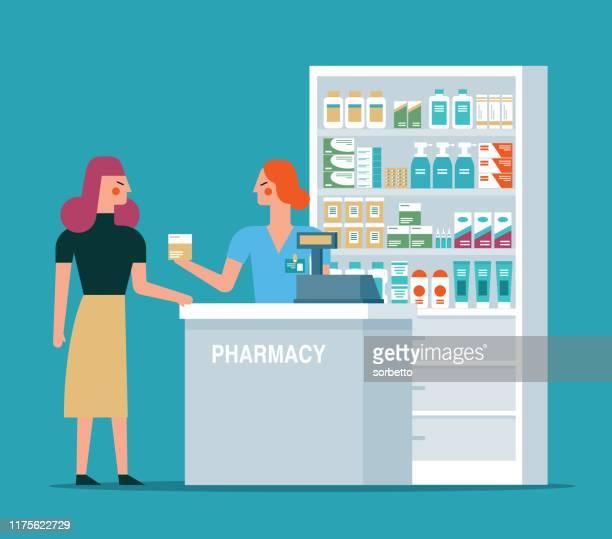 ilustraciones, imágenes clip art, dibujos animados e iconos de stock de farmacéutico en el lugar de trabajo en una farmacia - farmacia