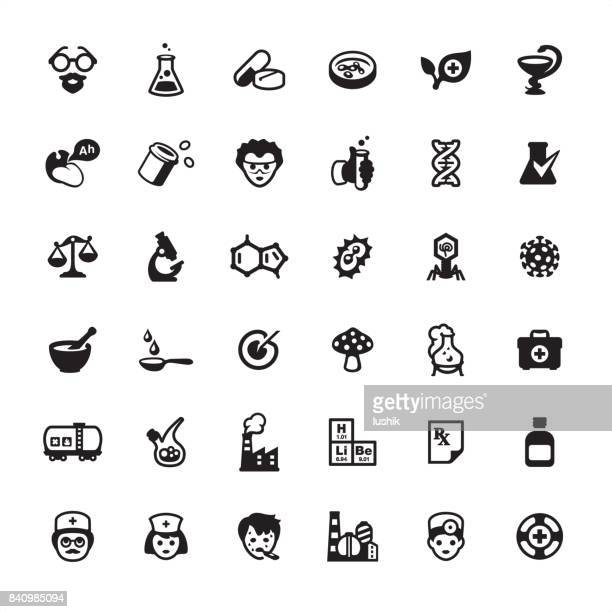 pharmacy and medicine - icons set - mortar and pestle stock illustrations, clip art, cartoons, & icons