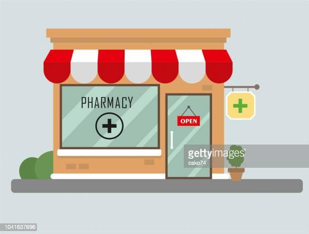ilustraciones, imágenes clip art, dibujos animados e iconos de stock de diseño plano del edificio de farmacia - farmacia