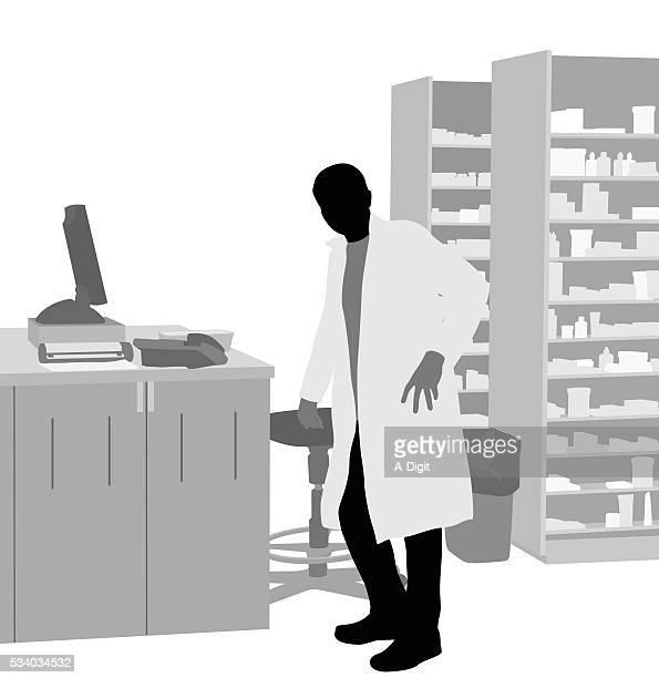 illustrazioni stock, clip art, cartoni animati e icone di tendenza di farmacia impiegato del reparto acquisti - farmacia