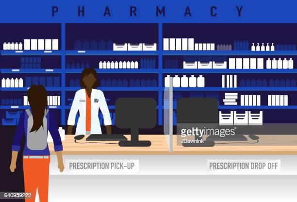 女性のアフリカ系アメリカ人の薬剤師と薬局のコンセプト