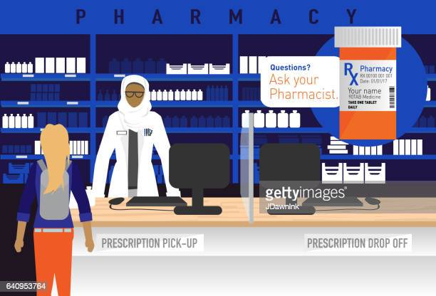 pharmacy concept with female muslim pharmacist wearing hijab - religious dress stock illustrations, clip art, cartoons, & icons