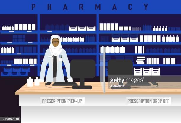 ヒジャーブを身に着けているイスラム教徒の女性の薬剤師と薬局のコンセプト