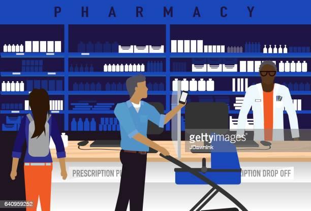 男性のアフリカ系アメリカ人の薬剤師と薬局のコンセプト