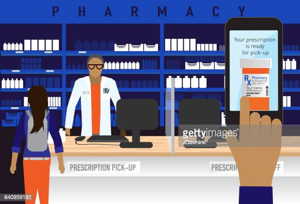 Pharmacy concept with smart phone medical prescription ordering app