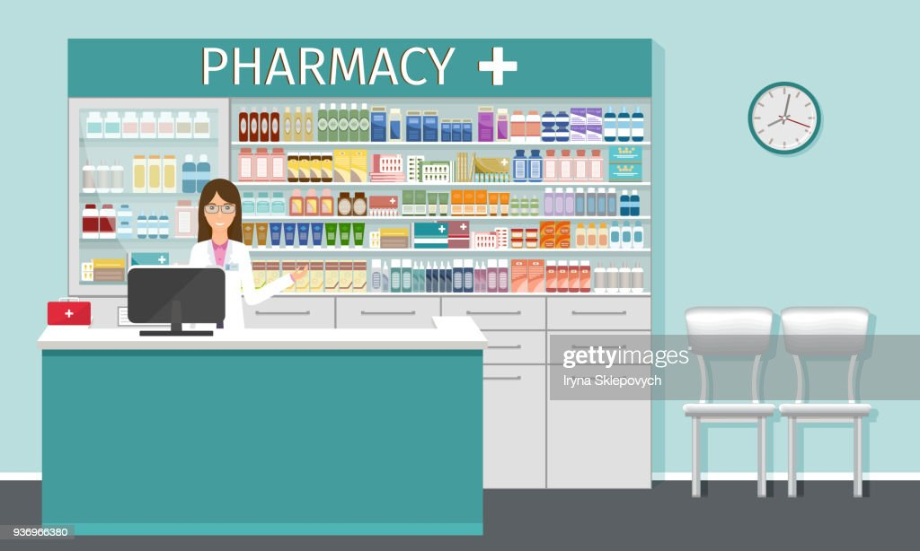 Pharmacy counter with pharmacist. Drugstore interior with showcases with medicines and apothecary female character.