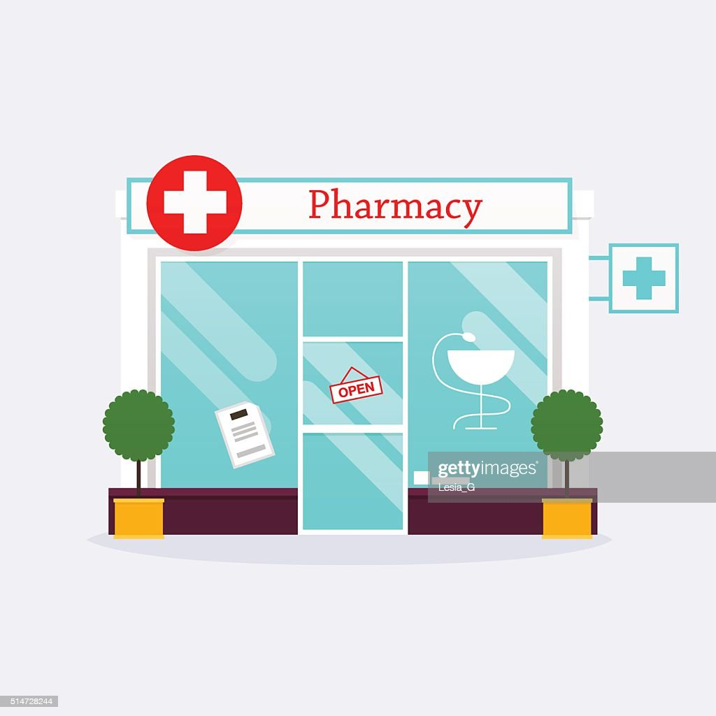 Pharmacy drugstore shop facade. Flat style vector illustration.
