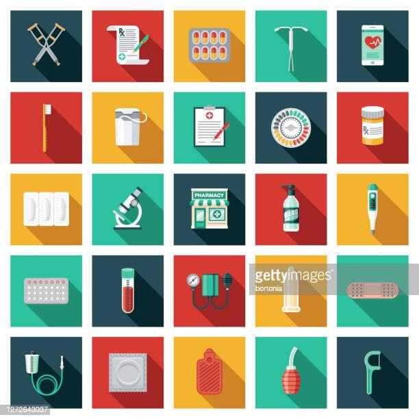 illustrazioni stock, clip art, cartoni animati e icone di tendenza di pharmacy icon set - supposta