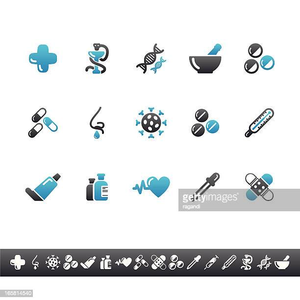 pharmacy icons | blue grey - mortar and pestle stock illustrations, clip art, cartoons, & icons