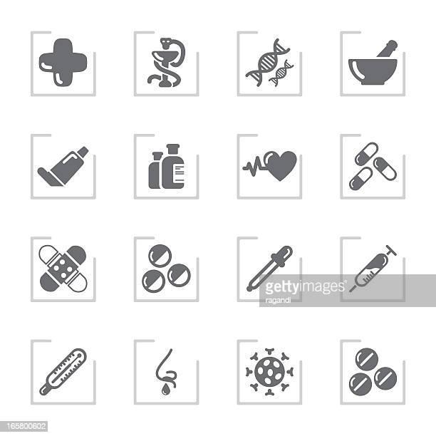 Pharmacy Icons | Framed Grey