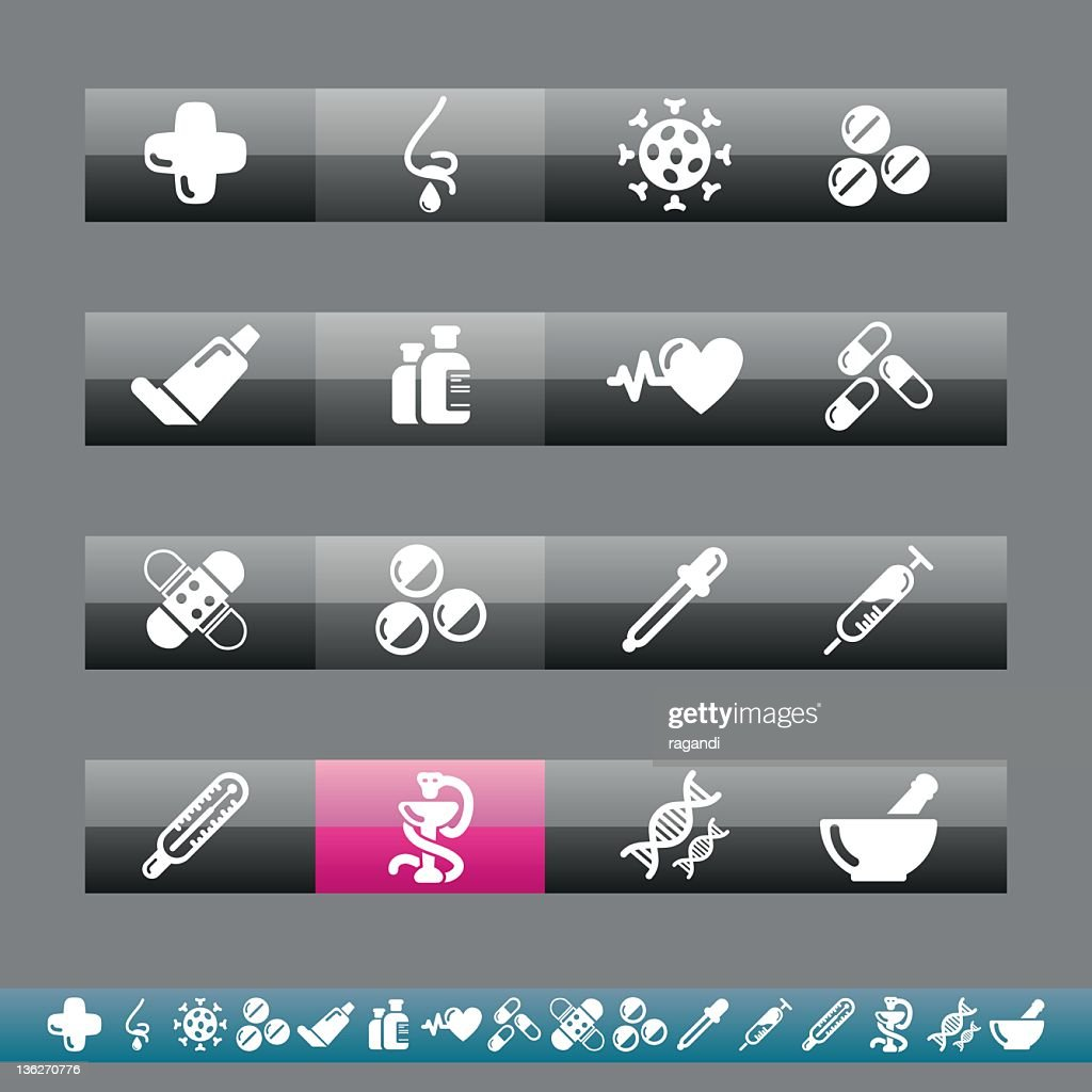 Pharmacy Icons   Grey And Pink : stock illustration